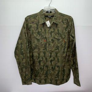 Carbon Shirt Slim Fit Button Front Collar Camo